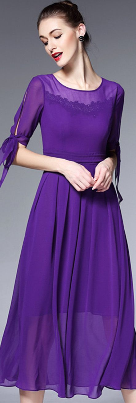 Purple Round Neck Split Sleeves Dress
