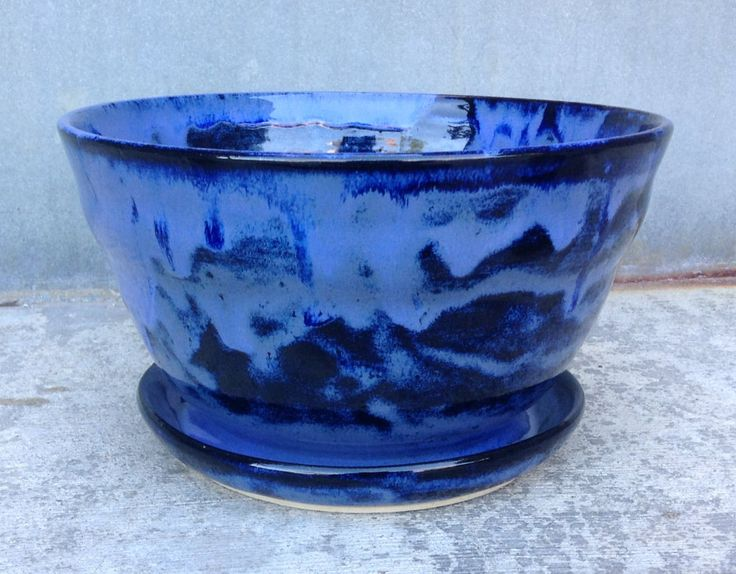 Blue and Black Ceramic Ribbed Plant Pot with Attached Drip Tray, Handmade Indoor Plant Pot by ShadowSparkStudio on Etsy