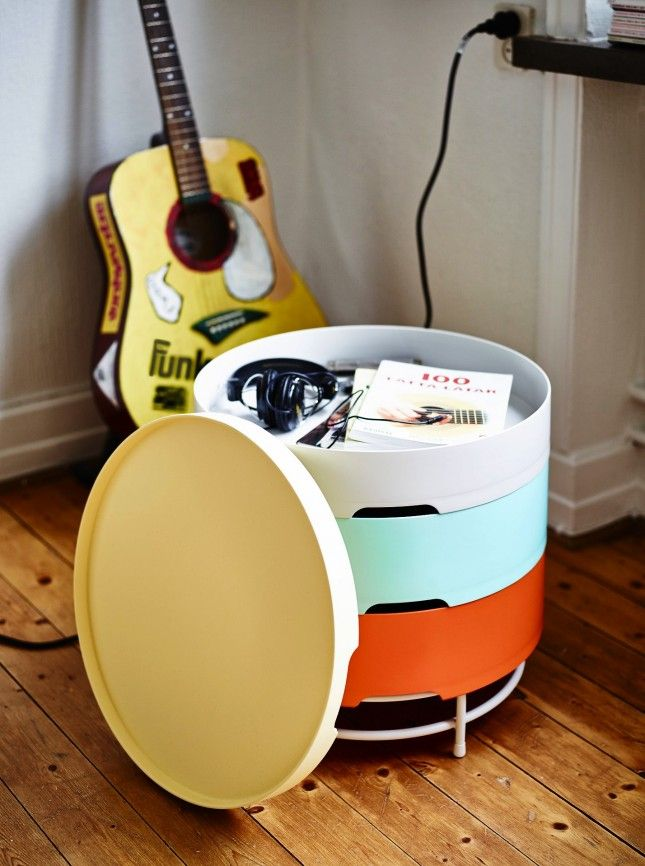 Stay organized with this multi-layered storage table.