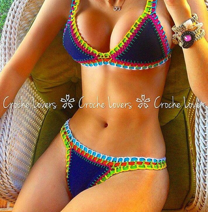 Biquíni de Crochê neon | Crochê Perfeito | Elo7