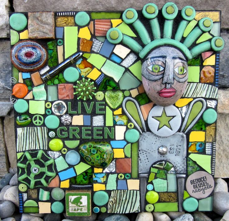 LIVE GREEN! handmade mixed media mosaic recycled art upcycled art art doll polymer clay stained glass