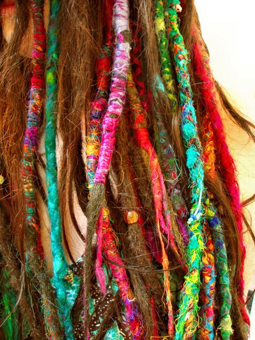 multi-colored wrapped dreads