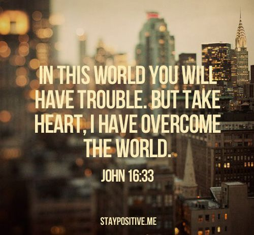 "One of my favorite verses. John 16:33  ""In this world you will have trouble. But take heart, I have OVERCOME the world."