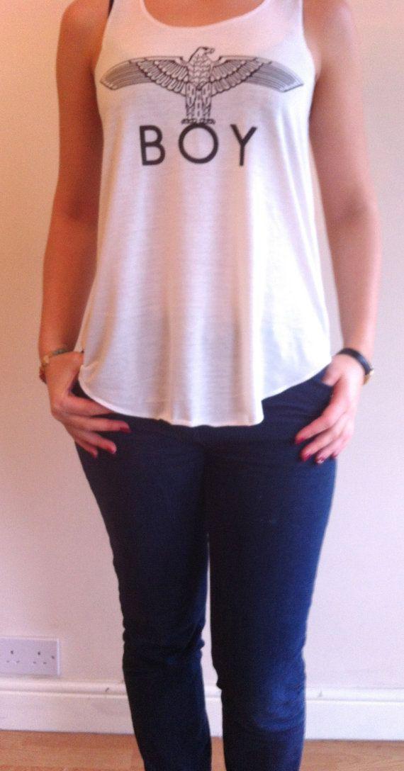 BOY LONDON T shirt EAGLE Print white Vest Tank Top T-Shirts Top Ladies Women Girls New, Boy London