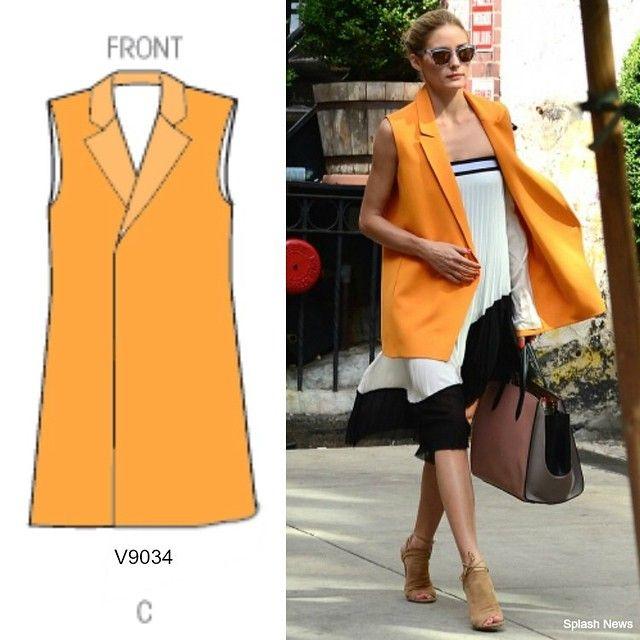 Use Vogue V9034 Pattern to recreate this look! Sleeveless Jacket / Longline button-less waistcoat (vest) #mccallpatterncompany (Image via: http://instagram.com/p/rJz4YQK1GC/?modal=true )