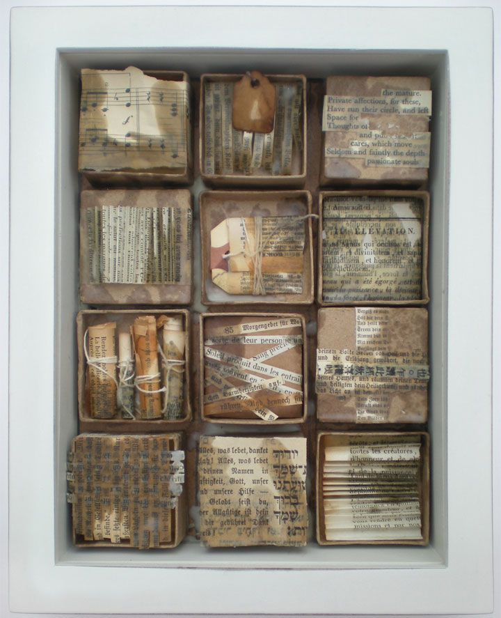 Michelle Ward layered these paper mache boxes inside a shadow box to create a dimensional montage. | Artists' Café