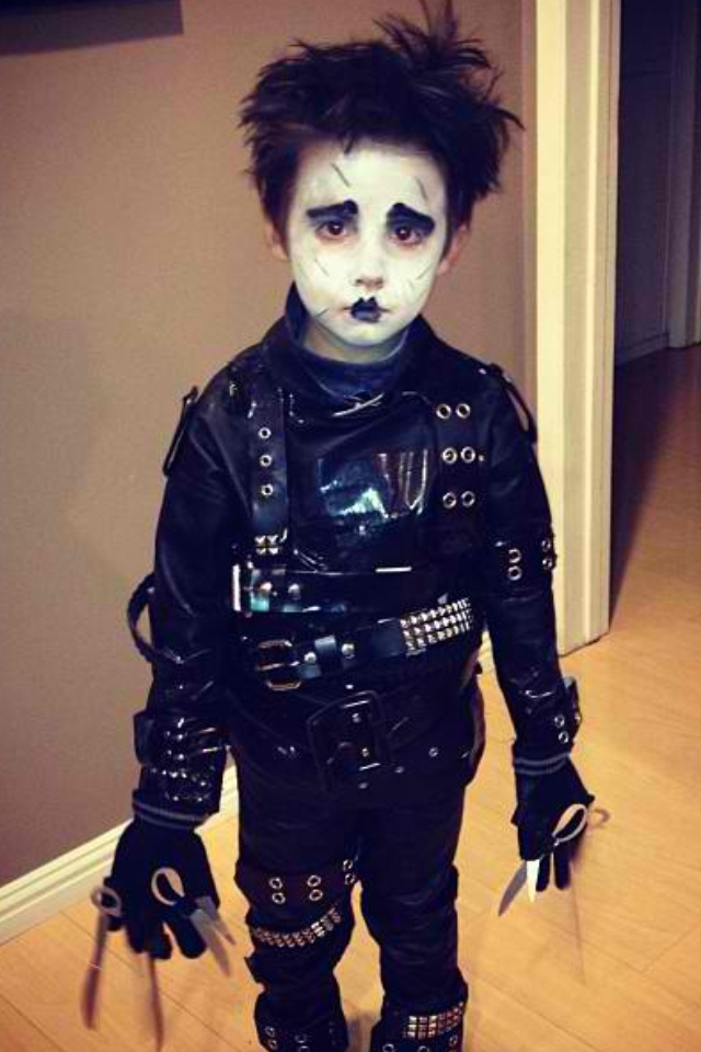 Diy kids child boy edward scissorhands halloween costume for Diy halloween costumes for kid boy