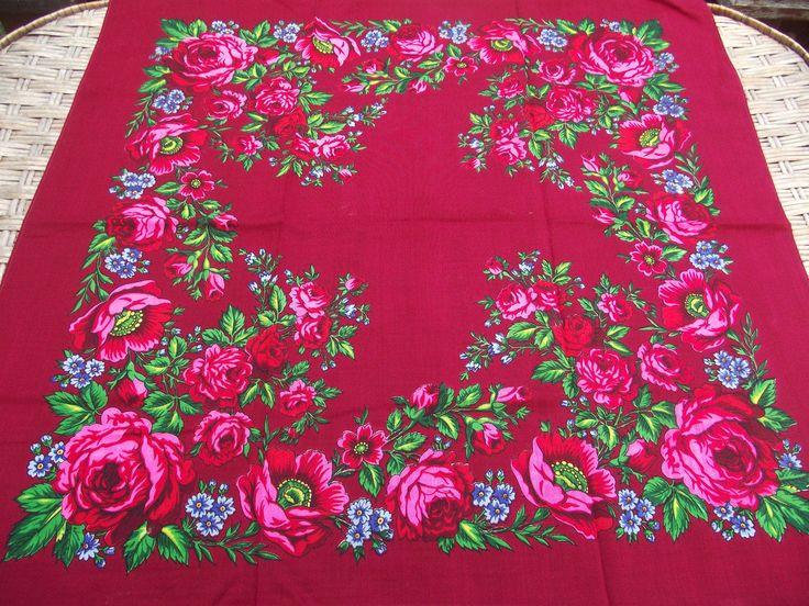 Vintage russian scarf Floral Shawl Ukrainian Romanian Wool shawl old scarf Soviet Shawl romanian style women Gift piano shawl by RussianshawlMayya on Etsy