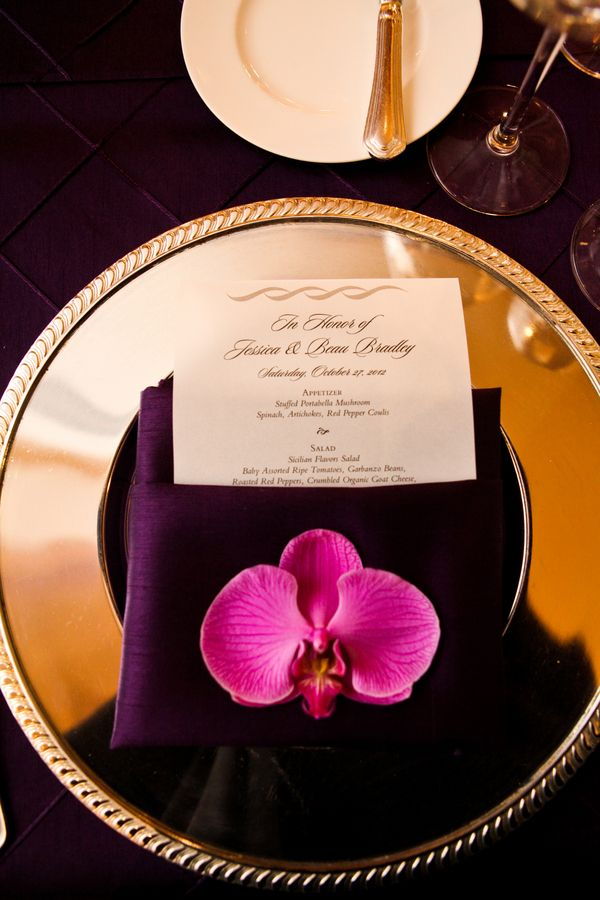 Radiant orchid place setting | Pepper Nix Photography on @myhotelwedding via @aislesociety