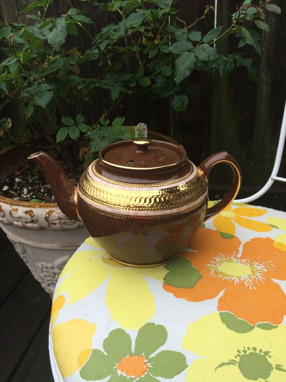 Vintage Staffordshire Brown Betty Brown and Gold
