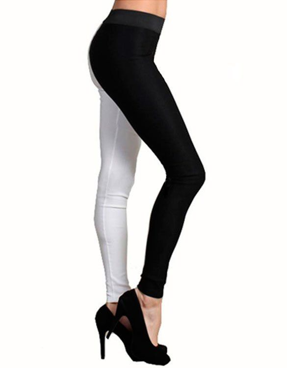 Black and White Mixed Spliced Leggings