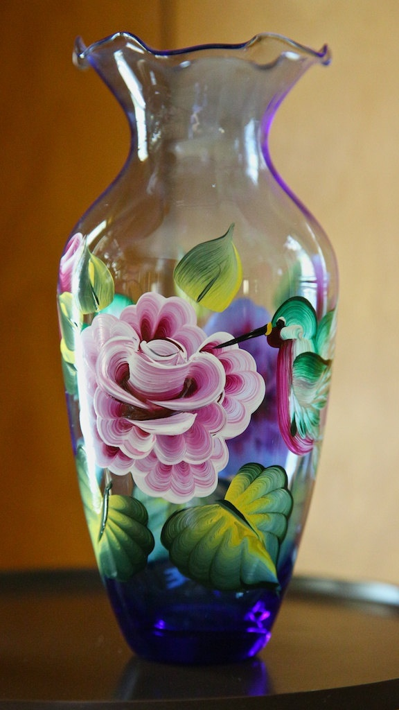 hand painted glass vase with roses and hummingbirds