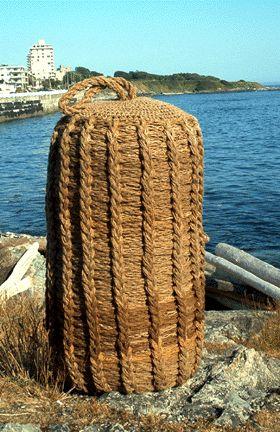 """Neptune's Crown Synet"" Crocheted & corked tarred hemp 53"" x 22"" x 22"", 2002"