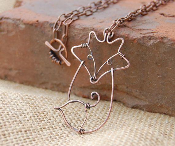 Fox. Fox Necklace. Wire Fox. Copper. by Karismabykarajewelry