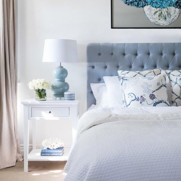 Duck Egg Blue Linen Buttoned Bedhead In 2019