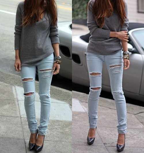 .: Outfits, Sweater, Ripped Jeans, Fashion, Style, Clothes, Dream Closet, Casual, Rippedjean