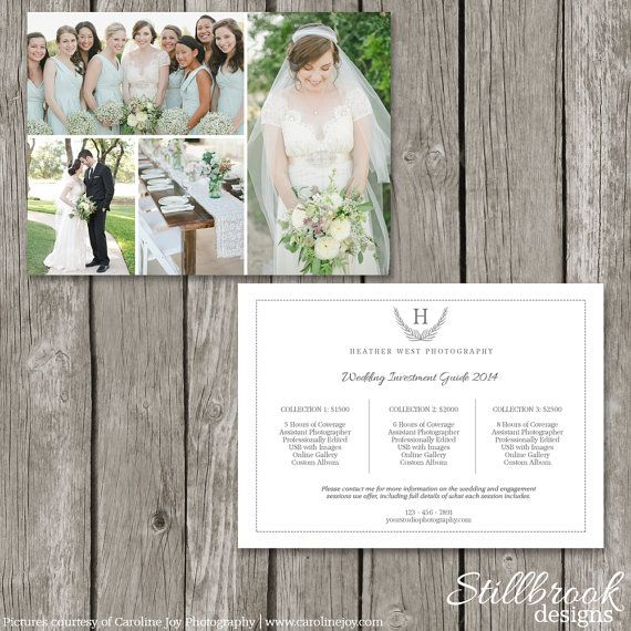 Photography Price List Template Card - Wedding Pricing Guide Postcard - Marketing Price Sheet for Photographers - Advertising Flyer