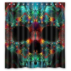 Sugar Skull Waterproof Shower Curtain! $32.99 http://skullcart.com/sugar-skull-waterproof-shower-curtain-2/ #skull #bathroom #shower #skullcart