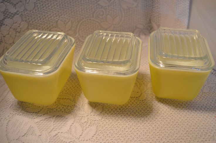 Vintage Pyrex Yellow 1-1/2 Cup Container 501 B Made in USA 40 with Lids Lot of 3 #Pyrex