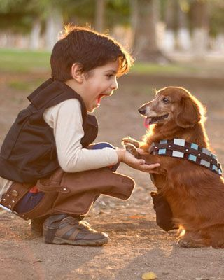 Star Wars Cosplay Kid Han Solo and Dog Chewbacca