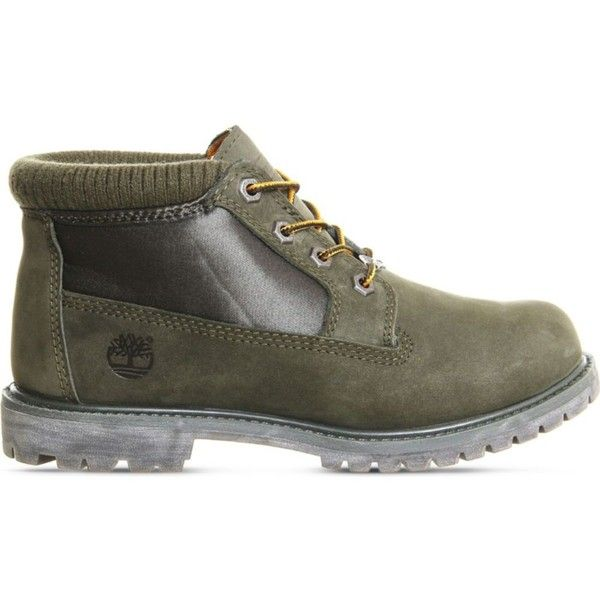 TIMBERLAND Nellie Chukka waterproof boots ($180) ❤ liked on Polyvore featuring shoes, boots, forest night nubuck, laced up boots, water proof shoes, cushioned shoes, front lace up boots and lace up shoes