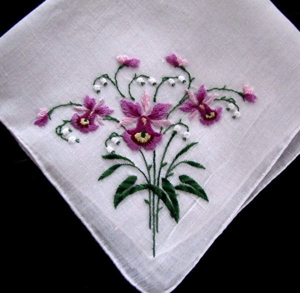 INSPIRATION Vintage hanky embroidered orchids