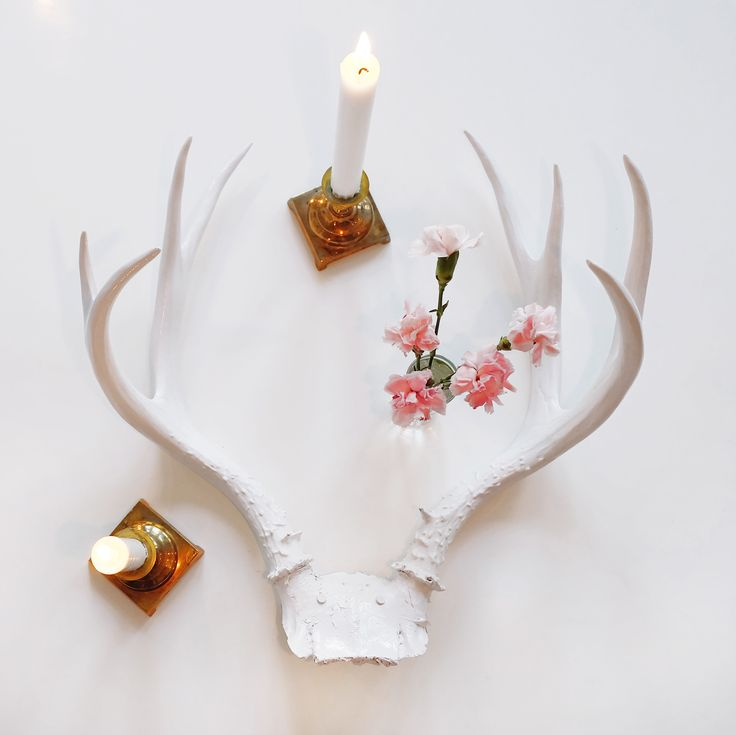 White Antlers, Melissa Mercier Designs.  Available in the shop => www.melissamercierdesigns.com  #antlers #white #decor #style #deer #horns #candles #gold #carnations #pink #flowers #decor #decoration #interior #flame #wood #style #melissamercierdesign.com
