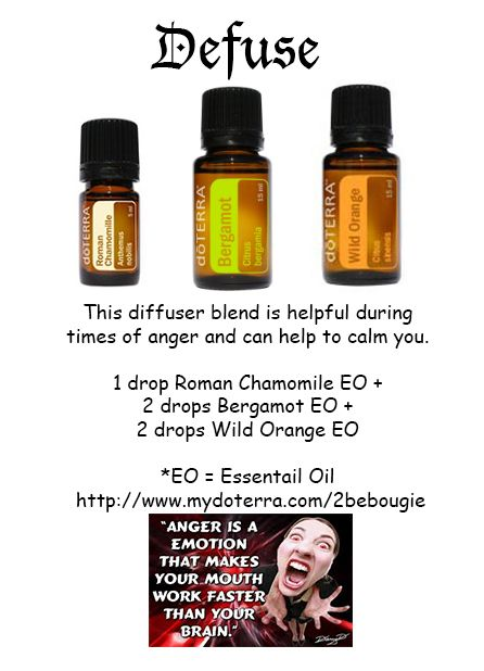Don't let anger get the best of you. Defuse with this doTERRA essential oil diffuser blend. Helps to calm one down during times of anger. http://www.mydoterra.com/renitafullam/ doTERRA essential oils