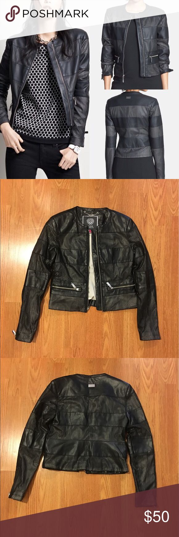 Vince Camuto Faux Leather Jacket Nwot Perforated Zip Front Vince Camuto Jackets Coats Fashion Clothes Design Fashion Design [ 1740 x 580 Pixel ]