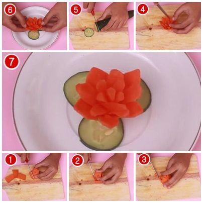 Cara Membuat Garnish Bunga Dari Wortel