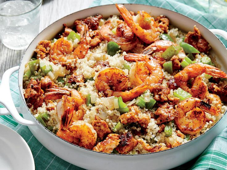 Sausage, Shrimp, & Quinoa Skillet | Quinoa (pronounced KEEN-wah) has risen to superstar fame in recent years. It's a gluten-free, high-protein, high-fiber, quick-cooking whole grain with a nutty flavor and a fun pop between the teeth when cooked. You'll find beige, red, black, or tricolor quinoa in stores; they all taste the same, so use whichever color you prefer. Because quinoa has a bitter-flavored natural coating, it's always a good idea to rinse it before cooking.
