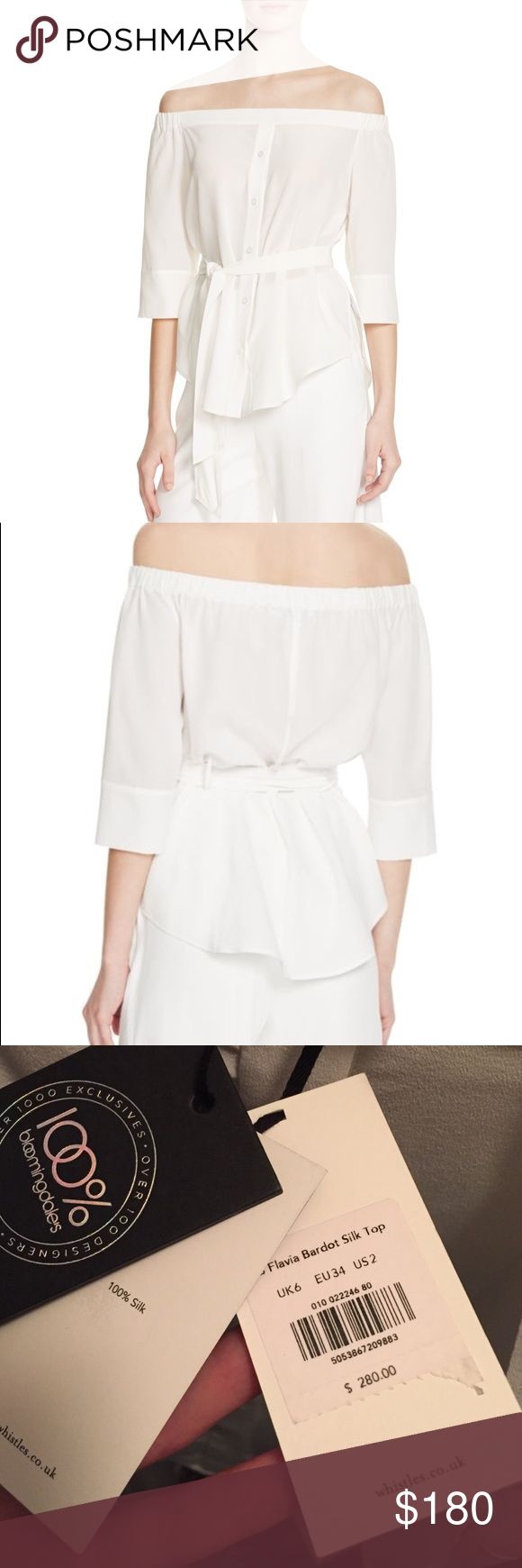 Whistles flavia bardot silk top NWT US2 100% Silk Whistles heightens our crush on all things off-the-shoulder with this exclusive silk top. Exclusively available from Bloomingdales.  Silk Dry clean Imported Elasticized off-the-shoulder neckline, three-quarter sleeves Button front placket, detachable self-tie belt, side slits, rounded hem For those unfamiliar with Whistles' UK sizing, here is the conversion: 0=UK 4; 2=UK 6; 4=UK 8; 6=UK 10; 8=UK 12; 10=UK 14. This is a UK6/US2/EU34. Retail…