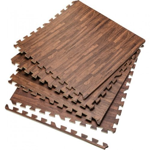 Home gym flooring dark wood foam interlocking tiles 6 for Gimnasio en casa