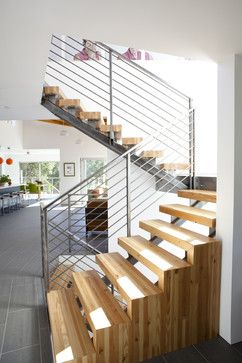 Butcher Block Bamboo Stair Treads Design Ideas, Pictures, Remodel, and Decor