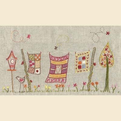 embroidery, quilts on a clothesline