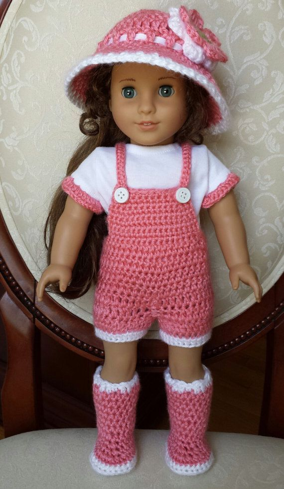 Crocheted American Girl 18 Doll Spring Outfit Clothes Overalls