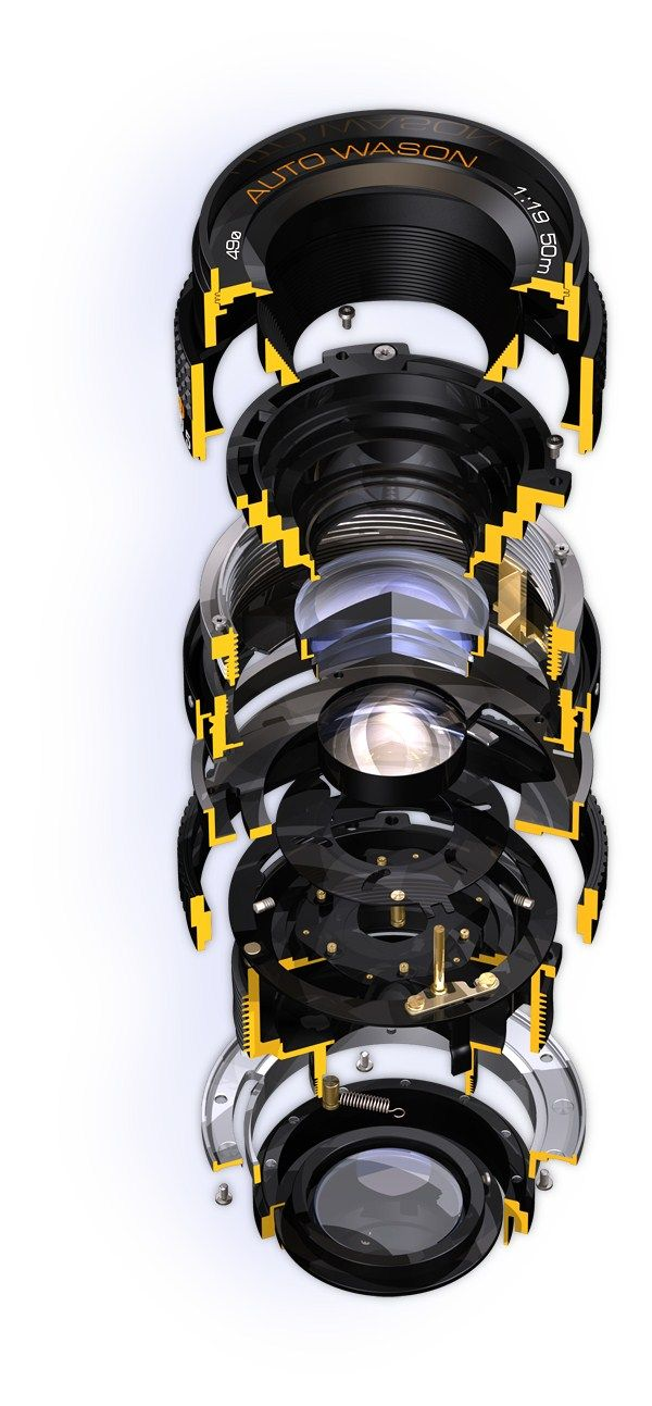 Cutaway Exploded View Of A Camera Lens Product Explosion
