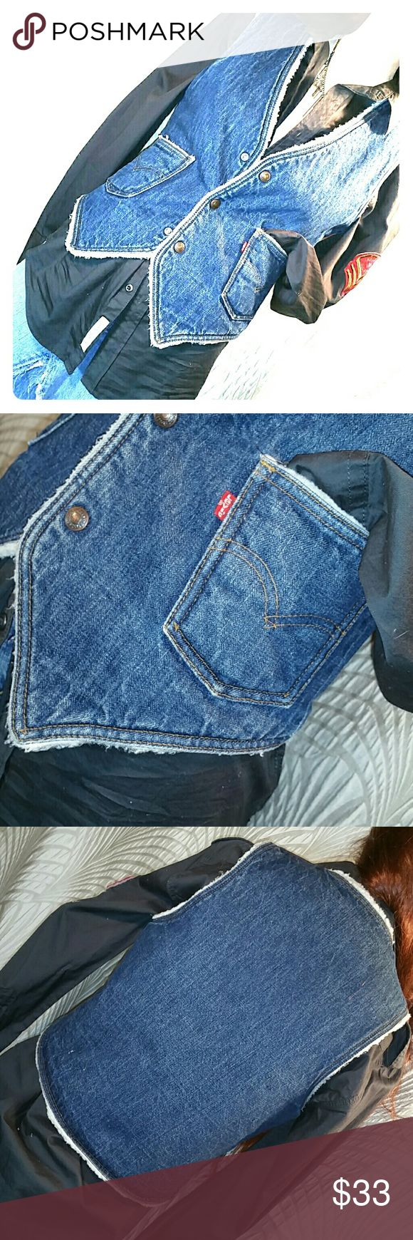 """Vintage Levis Vest Faux shearling lined jean vest. Front pockets. Dark blue denim with authentic """"train track"""" fading at seams. Not sure how old it is but guessing 1970s. Cotton shell, poly-acrylic """"shearling"""" Men's small, will measure on request Levi's Jackets & Coats Vests"""