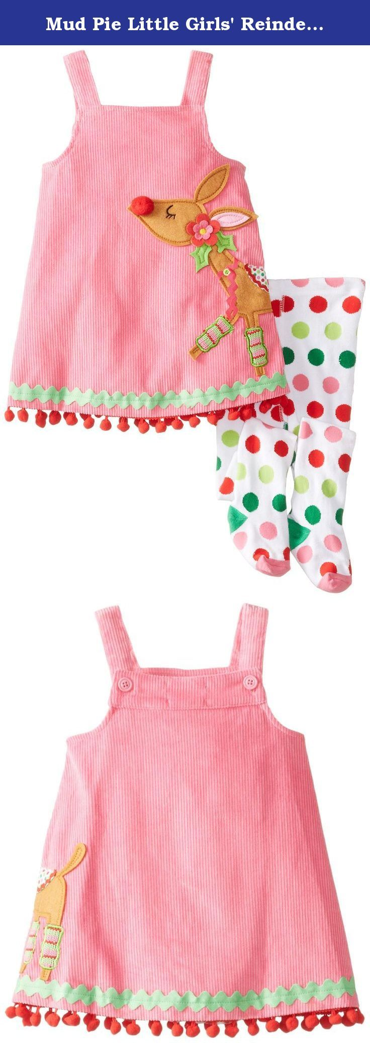 Mud Pie Little Girls' Reindeer Jumper and Tights, Pink, 4T. 2-piece set. Pink corduroy jumper buttons in back and features dimensional reindeer applique, ric-rac and pom-pom trim. Comes with colorful polka dot cotton tights.
