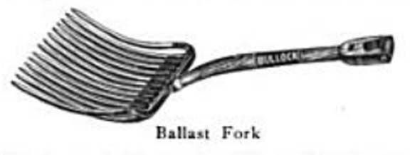 Railway ballast fork - used to move ballast (gravel, cinders, crushed stones, etc.) while allowing dirt to fall through. Dirt in the road bed hindered drainage - from Wikipedia