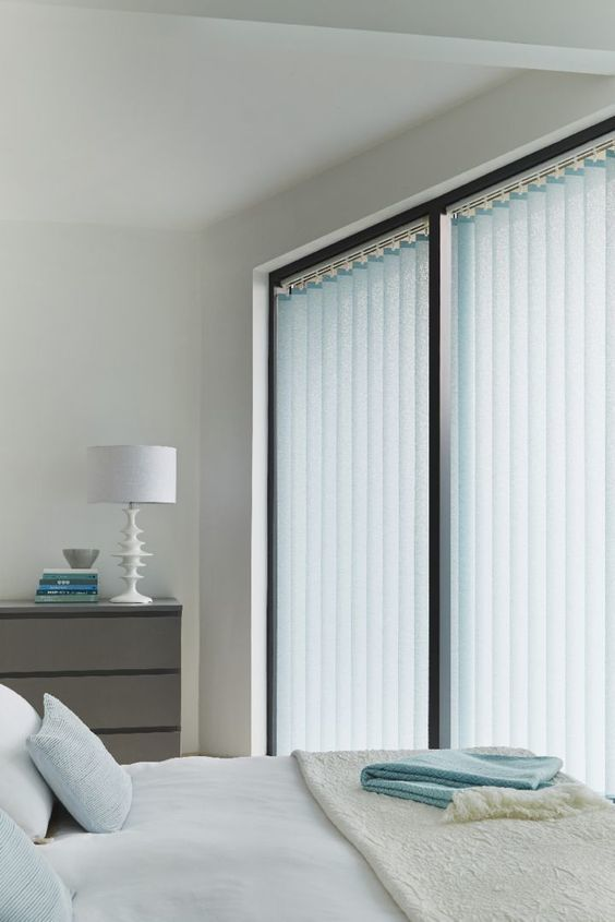 Light shades of blue can add a hint of colour within a minimalistic room. Team with creams and simple accessories to create an impactiful style. Made to measure verticals are perfect for this look.