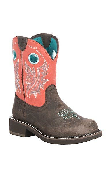d4ea93a5d57 Ariat Women's Chocolate with Coral Upper Fatbaby Heritage Cowgirl ...