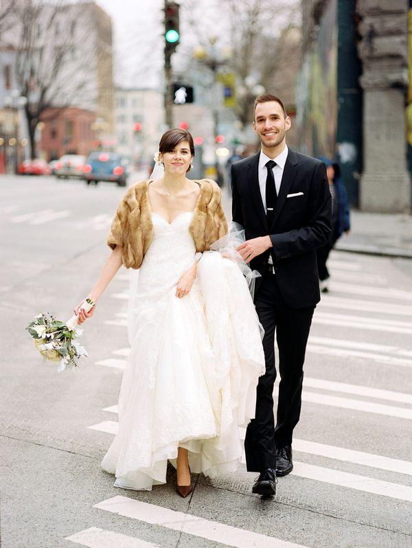 Fur shrug over wedding gown for Fur shrug for wedding dress