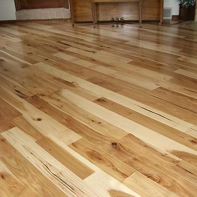"Unfinished Hardwood Flooring - 8"" Wide Plank Hickory Solid Wood 3/4"""