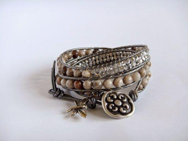Wrap bracelet with jasper silver leaf