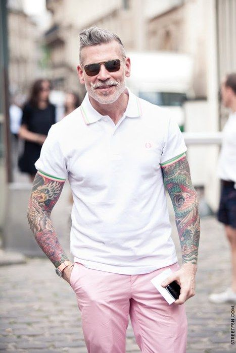 LIKE A BOSS! Older guy with grey hair sporting the sweet sleeves AND pink pants! LOL! I'll sport the grey in my beard and some tattoos, but I won't wear the pink pants. ;)