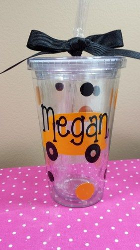 School Bus Insulated Tumbler Personalized with polka dots and ribbon   grammeshouse - Housewares on ArtFire