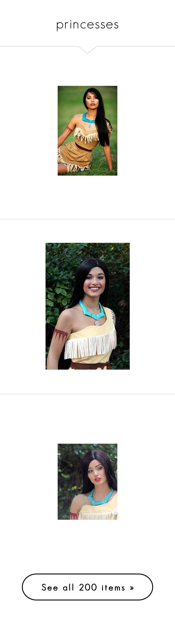 """""""princesses"""" by hogwartsdragoness ❤ liked on Polyvore featuring pocahontas, characters, disney, naya rivera, costumes, halloween costumes, pocahontas costume, sexy halloween costumes, adult indian costume and sexy cowgirl costume"""