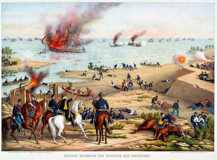 Image result for civil war battle of the monitor and merrimac