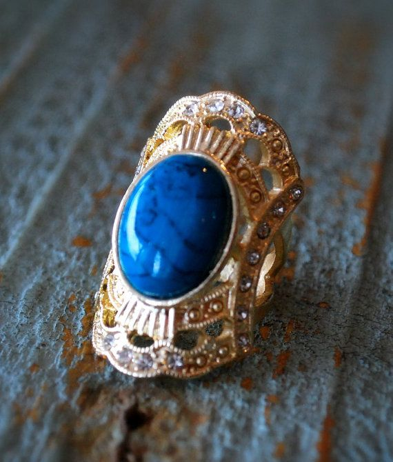 9K Gold Filled Size 5.75 Hot Turquoise White by BeautyandStones, $35.00